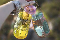 hand painted mason jar lanterns