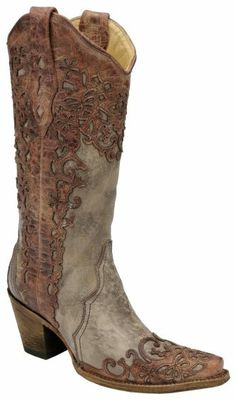 Corral Laser Overlay Cowgirl Boots - Snip Toe - Sheplers