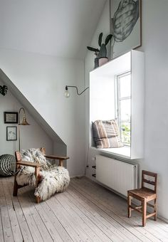 my scandinavian home: A little spot by the window in a dream Danish house by the sea (click pic for full tour of the house). Photo - Jesper Ray.
