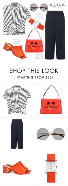 """""""Black & White & Red All Over...(TS)"""" by badassbabyboomer ❤ liked on Polyvore featuring T By Alexander Wang, J.W. Anderson, Vince, Karen Walker, Tory Burch and Hermès"""