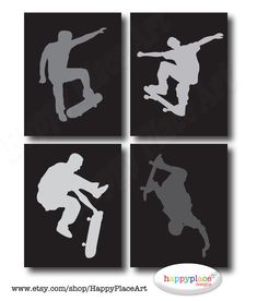 Skateboarder Silhouette Printable for Instant Download 8x10 or 11x14in jpeg for Teen or Child Bedroom. Other Colours & Sizes Available.