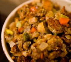 Macadamia Nut Stuffing - A simple stuffing made with traditional flavors with a Hawaiian macadamia twist - be sure to use Islandprincesshawaii.com macadamia nuts