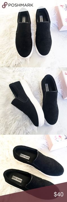 Steven madden slip on black suede sneakers Steven madden black suede slip on sneakers. Preloved But in excellent condition, worn twice. Offers are welcome ☺️ Steven By Steve Madden Shoes Platforms