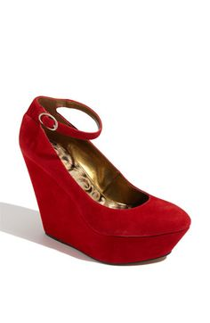 A wedge for winter ... sweet.  Loving he rich looking red suede.