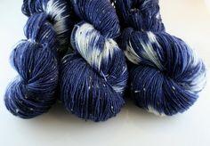 Hand Dyed Yarn, Shibori Indigo Tweed colorway, Donegal sock BFL 438 yards on Etsy, $19.60