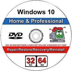 Windows 10 Home and Professional- Bit DVD. Recover, Repair, Restore or Re-install Windows to F: Windows 10 Pro & Home Install Reinstall Restore Upgrade Repair Recovery 64 bit WNYPC Backup Utility DVD Internet Router, Windows Defender, Tech Hacks, Old Computers, Microsoft Windows, Windows Software, Windows Xp, Ibm, Restoration