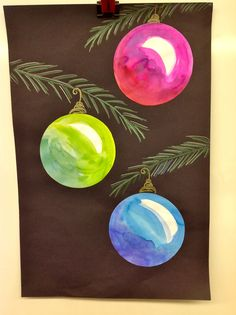 3rd Grade Shiny Bright ornaments! I love the compostion, and the bright watercolor ormanents cut out and glued on black paper :).