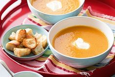 Sweet roasted carrot soup with chunky croutons
