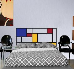 Full/Double Headboard decal - Vinyl wall sticker decal - Mondrian/ De Stijl Style. $55.00, via Etsy.