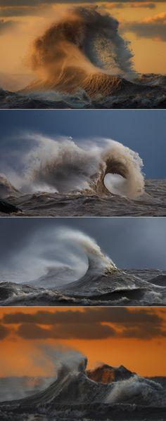 Surreal photos of crashing waves caught in motion on Lake Erie via The Washington Post