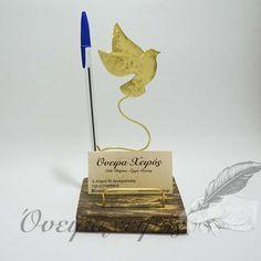 """Χειροποίητη Καρτοθήκη με Βάση για Στυλό από Ορείχαλκο """"Περιστέρι"""" Clay Art, Rock Art, Handicraft, Jewerly, Diy And Crafts, Place Cards, Ornament, Place Card Holders, Metal"""