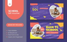 Back To School Gift Voucher Back To School Gifts, Gift Vouchers, Corporate Identity, Print Templates, Card Templates Printable, Branding, Gift Certificates, Visual Identity