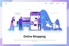 Online Shopping Flat Vector Illustration