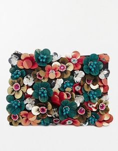 Image 1 of ASOS Clutch Bag With Flower Embellishment