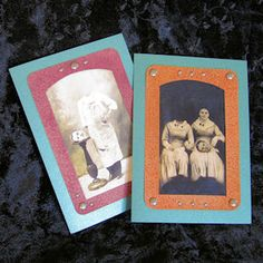 Headless Photo Card for Halloween on Vintage Image Craft creepy Headless Photo Card has the look of an antique cabinet card photograph -- minus a head or two. To mimic an antique leatherette frame, we show you how to get the look with cardboard, wax paper, ink and your iron. You get TWO vintage photos and Halloween messages to choose from.