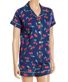 Look at this #zulilyfind! BedHead Pajamas Navy Cherry Pick Shorty Pajama Set by BedHead Pajamas #zulilyfinds