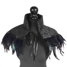 black lace capelet with beautiful feather trim ♥