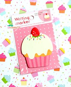 Cute Cupcake Sticky Notes - Cute Post-it notes, sticky memo, kawaii food, cake, kawaii cupcake, strawberry