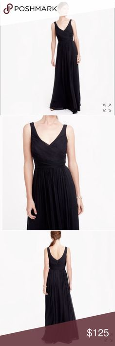NWT J Crew Empire Waist Black Formal Chiffon Gown Gorgeous formal dress by J Crew in black, with a high empire waist, and sweeps at the feet. Perfect for a wedding, as a bridesmaids dress or formal event dress. Size 6, with a bust measurement of 16.5 inches, with a little more room in the boobie area. Line through the tag to prevent return J. Crew Dresses Wedding