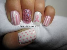 Pink October nail art tutorial (click through for more).