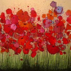 Bursting Poppies - charcoal, watercolor, acrylic and guache on birch panel by Marcello Munoz Watercolor Poppies, Red Poppies, Watercolor Landscape, Watercolor Paintings, Poppies Art, Watercolors, Alcohol Ink Painting, Alcohol Inks, Guache