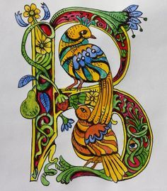 medieval letter B with beautiful birds Fancy Letters, Monogram Letters, Illuminated Letters, Illuminated Manuscript, Illumination Art, Alphabet Art, Graffiti Alphabet, Celtic Art, Celtic Dragon