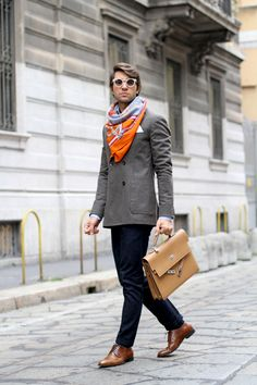 Filippo Fiora wearing Sutor Mantellassi Shoes + Hermès Kelly Depeche Briefcase. Source: www.thethreef.com