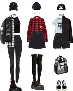 Outfits and flat lays we fell in love with. See more ideas about Casual outfits, Cute outfits and Fashion outfits. Fashion Trends, Latest Fashion Ideas and Style Tips. Edgy Outfits, Mode Outfits, Fashion Outfits, Cute Punk Outfits, Fashion Clothes, Fashion Ideas, Punk Clothes, Grunge Clothes, Grunge Hair
