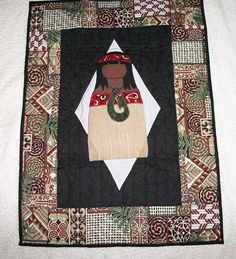 Maori Girl Wall Hanging / Table Mat by sharronmay on Etsy, $60.00 Applique Wall Hanging, Hanging Table, Kiwiana, Cotton Quilting Fabric, Centre Pieces, Dining Room Table, Quilts, Blanket, Handmade