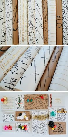 Hand-written gift wrap: Add whatever sentiments you want (to make the gift really personalized) by writing on plain paper with a Sharpie marker.