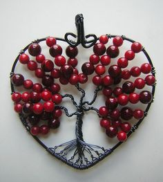 Red Heart-shaped Tree of Life by RachaelsWireGarden on DeviantArt