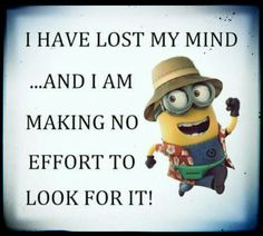 Lost my mind and I am making no effort to look for it. - Minions.