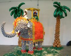Life size Indian elephant in balloons.