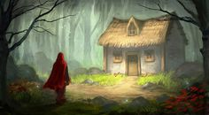 General 1947x1080 digital art fantasy art fairy tale Little Red Riding Hood trees forest house painting grass stones flowers