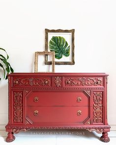 Charming and Chic Farmhouse Thrift Store Makeovers - The Cottage Market Distressed Furniture Painting, Paint Furniture, Furniture Refinishing, Red Chalk Paint, Red Dresser, Simple Furniture, Upcycled Furniture, Furniture Ideas, Layer Paint