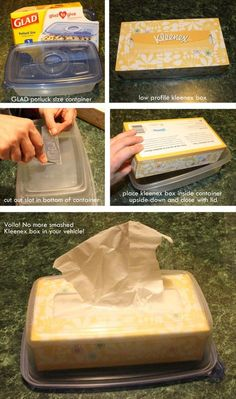 No more smashed Kleenex box in the car! Lots of other ideas too.  http://www.dumpaday.com/genius-ideas-2/simple-ideas-that-are-borderline-genius-20-pics-2/