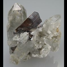 Brookite perched in the middle of a nest of Quartz crystals. From Dalbundi, Baluchistan Province, Pakistan