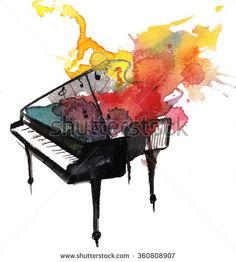 watercolor piano music - stock photo