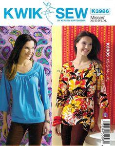 Sewing Pattern - Misses' Tops and Belt Pattern, Kwik Sew #K3986