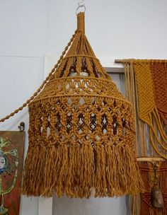 Hanging Organic Macrame Pendant Lamp   From a unique collection of antique and modern chandeliers and pendants at https://www.1stdibs.com/furniture/lighting/chandeliers-pendant-lights/