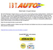 IBT AUTO Metatrader 4 Expert Advisor is a multi currency trend trading strategy trading EURUSD, AUDUSD and JPY crosses. Monthly +48.87%!  http://www.forexreviews24.com/ibt-auto-ea/