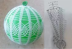Crochet Christmas Ornaments, Christmas Crochet Patterns, Crochet Snowflakes, Handmade Ornaments, Ball Ornaments, Christmas Baubles, Christmas Crafts, Crochet Ball, Crochet Motif
