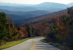 The Talimena National Scenic Byway in southeast Oklahoma reveals one panoramic vista after another as it winds through ancient mountains.