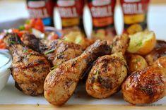 Pulpe de pui la grătar marinate cu usturoi și ierburi aromatice   Savori Urbane Tandoori Chicken, Chicken Wings, Urban, Meat, Ethnic Recipes, Food, Beef, Meal, Essen