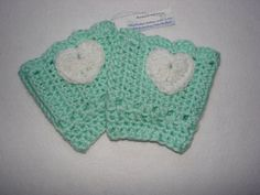 Mint Crochet Boot Cuffs with white Heart Green  by OtiliaBoutique, $28.00