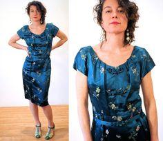 Tiefsee grün 50er Jahre Kleid M asiatischer von MorningGlorious