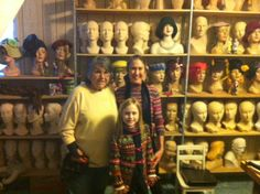 This is a shot of Marge Crunkleton NOW in her studio (the one in the yellow sweater) with two good friends, Anne and Sophia Rohr.  (Ann is a mime/clown having an entertainment company in Atlanta, Ga) Making mannequin heads to mimic my collection of antique originals is my present hobby.  I love painting make-up on someone else.
