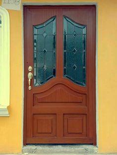 Puerta de metal imitaci n madera en arco cristalacero - Puertas de metal para casas ...