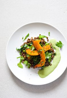 Lentils, Squash, green Tahini-Sauce and Herbs