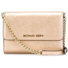 Michael Michael Kors Jet Set Travel Phone Crossbody Bag ($164) ❤ liked on Polyvore featuring bags, handbags, shoulder bags, metallic, leather shoulder handbags, travel purse, travel shoulder bag, genuine leather handbags and leather crossbody